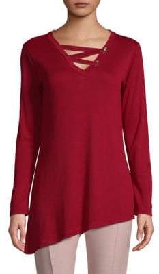 Deep V-Neck Long-Sleeve Top