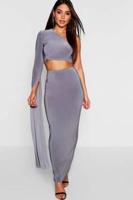 boohoo One Shoulder Extreme Sleeve + Maxi Skirt Co-Ord