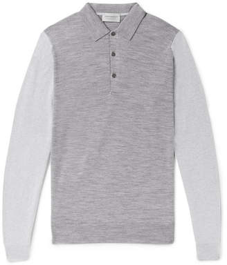 John Smedley Brightgate Slim-Fit Two-Tone Wool Polo Shirt