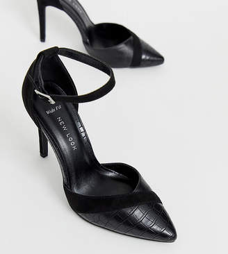 New Look Wide Fit croc mix point heel in black
