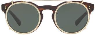 Valentino Va4009cb 47 Brown Round Sunglasses