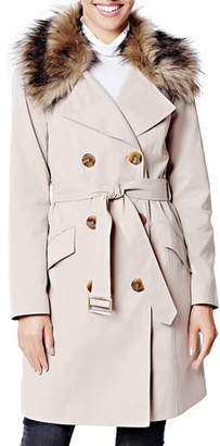 Fabulous Furs Essential Faux Fur-Collar Trench Coat