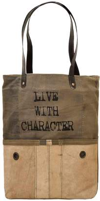 Vintage Addiction Live With Character Leather Trim Tote