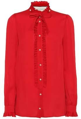 Gucci Embellished silk blouse