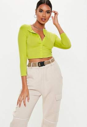 Missguided Neon Lime Button Front Long Sleeve Crop Top