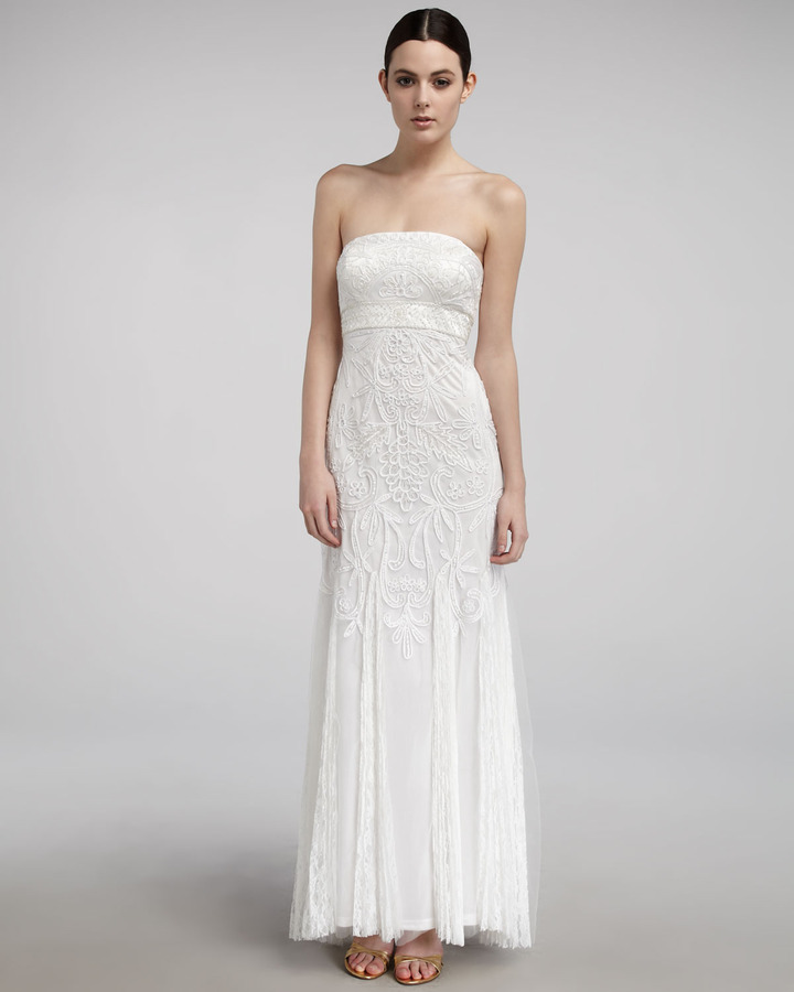 Sue Wong Strapless Lace Gown