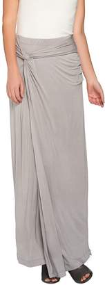 Halston H By H by Petite Knit Maxi Skirt with Side Knot Detail