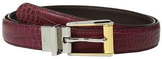 Lauren Ralph Lauren Faux Croc/Smooth Pu 3/4 Reversible Two-Tone Dress Skinny Women's Belts