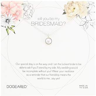 Dogeared Will You Be My Bridesmaid Flower Card Large Bezel Pearl Pendant Chain Necklace