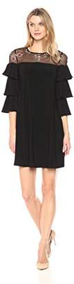 Julian Taylor Women's Embroidered Shift Dress with Ruffle Sleeves