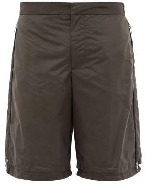 Prada Double Layered Nylon Gabardine Shorts - Mens - Green