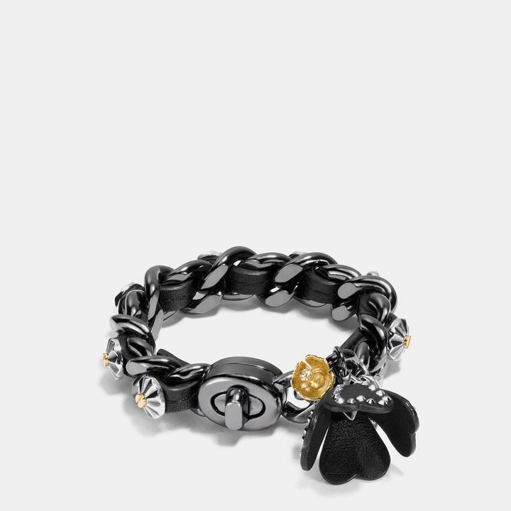 Coach  COACH Coach Studded Daisy Rivet Tea Rose Charm Bracelet