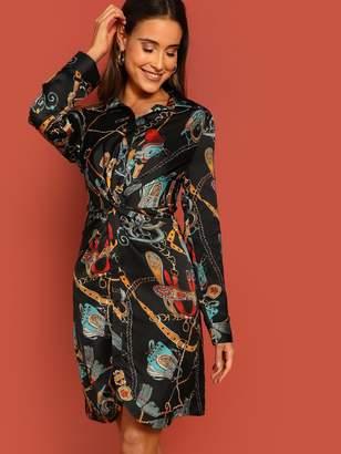 SheinShein Chain Print Twist Front Shirt Dress