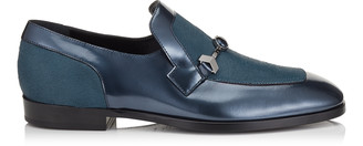 Jimmy Choo TIM Dark Pavone Metallic Calf Leather and Pony Skin Loafers with a Stone