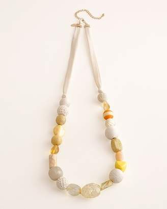 Chico's Chicos Yellow Beaded Single-Strand Necklace