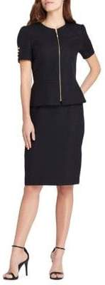 Tahari Arthur S. Levine Roundneck Zip Front Short Sleeve Skirt Suit