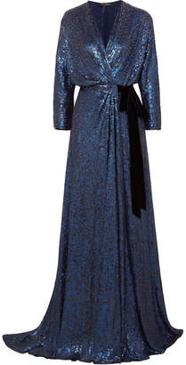 Jenny Packham Velvet-trimmed Sequined Silk Wrap Gown - Navy