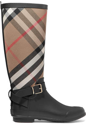 Burberry Checked Cotton-canvas And Rubber Rain Boots - Black