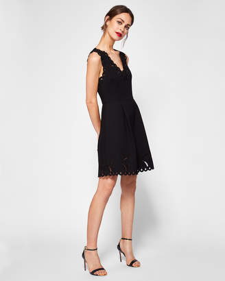 Ted Baker EMALISE V-neck embroidered skater dress