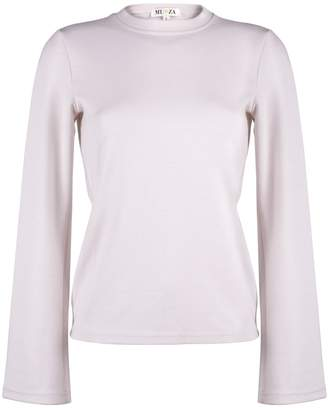 MUZA - Stretch Viscose Top with Fluted Sleeves in Pale Pink
