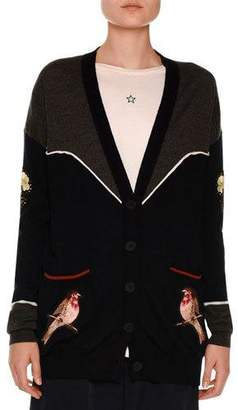 Stella McCartney Western Bird-Embroidered Cardigan, Charcoal/Ink