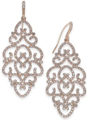 INC International Concepts I.n.c. Rose Gold-Tone Pave Openwork Drop Earrings