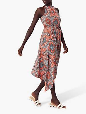 Oasis Paisley Hanky Dress, Orange