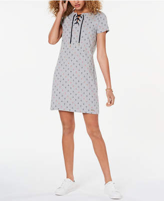 Tommy Hilfiger Lace-Up T-Shirt Dress