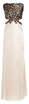 Miu Miu Women's Metallic Leopard Cutout Gown