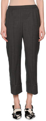No.21 No. 21 Cropped Wool Beaded Straight-Leg Pants