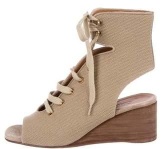 Chloé Peep-Toe Canvas Boots