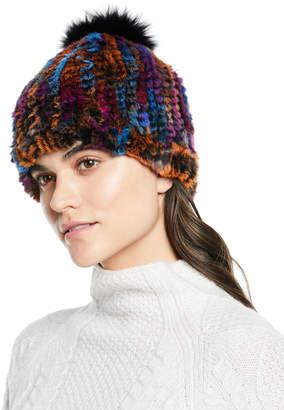 Adrienne Landau Knit Rabbit/Fox Fur Multicolor Pompom Hat