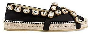 Gucci Women's Pilar Bejeweled Canvas Espadrille Flats