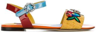 Dolce & Gabbana embroidered flat sandals