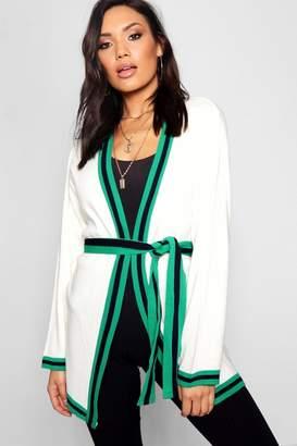 boohoo Sport Stripe Belted Cardigan