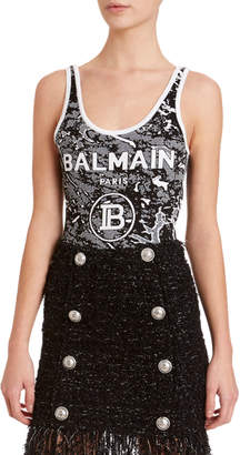 Balmain Camo Logo-Graphic Bodysuit