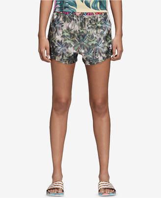 adidas Satin Printed High-Waist Shorts