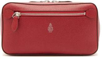 Mark Cross Logo Leather Wash Bag - Mens - Red