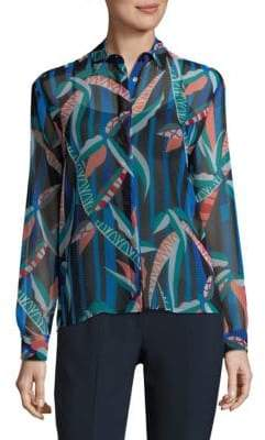 MSGM Silk Abstract Print Shirt