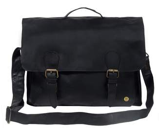 MAHI Leather - Leather Messenger Satchel Bag In Ebony Black