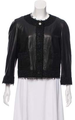Dolce & Gabbana Lace-Accented Leather Jacket