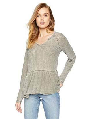 William Rast Women's Gryphon Raglan Sleeve Peplum Top