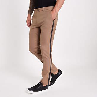 River Island Brown tape side skinny fit pants