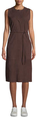 Vince Belted Suede Sleeveless Midi Dress