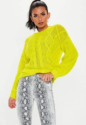 Missguided Neon Yellow Cable Knit Sweater bfd8af02f