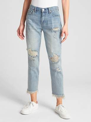 Gap Mid Rise Best Girlfriend Jeans with Distressed Detail