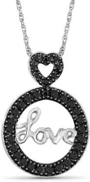 Black Diamond JewelersClub Accent Sterling Silver Love Circle Pendant