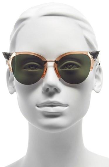 Women's Fendi Crystal 52Mm Tipped Cat Eye Sunglasses - Havana Gold Vio/ G5 2