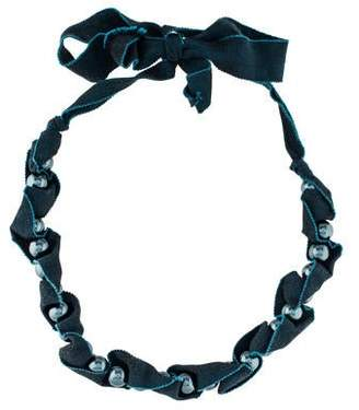 Lanvin Faux Pearl Fabric Bead Strand Necklace