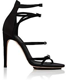 Calvin Klein WOMEN'S VINNA SATIN & SUEDE SANDALS-BLACK SIZE 9.5